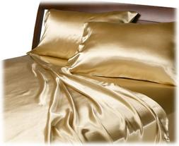Mk Collection 2 King Pillow Cases Soft Silky Satin Solid Gol