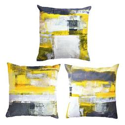 Decor MI [Just Pillowcase Modern Grey and Yellow Throw Pillo