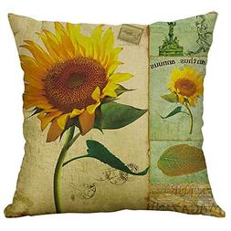 Modern Throw Pillow Covers Sunflower Painting Series Pillowc