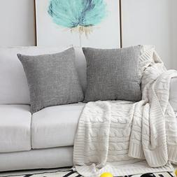 Kevin Textile Faux Linen Square 2 Tone Woven Throw Pillow Sh