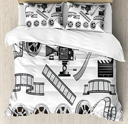 Ambesonne Movie Theater King Size Duvet Cover Set, Movie Ind