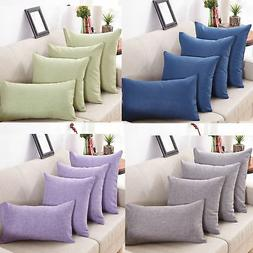 New Cotton Solid color Linen Pillow Case Sofa Throw Cushion