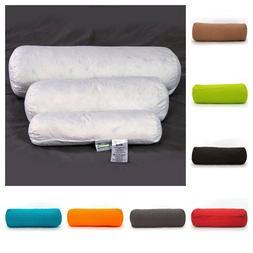 New Duck Feather Bolster Pillow with Case in Various Colours
