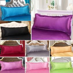NEW Long Body 1.5M Solid Silk~y Satin Pillow Case Cover Bedd