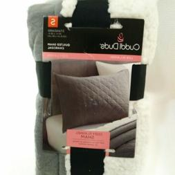 Cuddl Duds New Pillow Case Sham gray quilted flannel standar