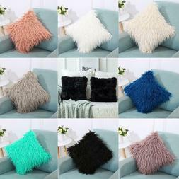 New Plush Solid Pillowcase Pillow Cover for Home Car Decor L