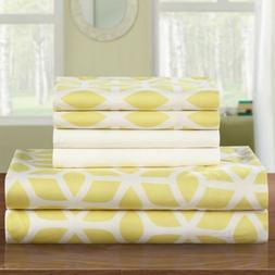 NEW Twin Queen King Bed Yellow White Geometric 6 pc Sheet Ex