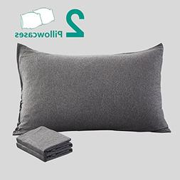 NTBAY 100% Organic Cotton Solid Color Pillowcases Set of 2,