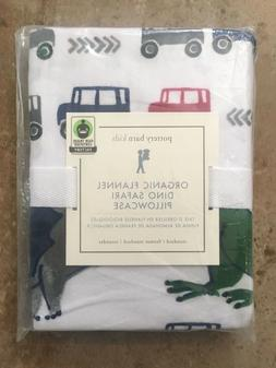 Pottery Barn Kids ORGANIC FLANNEL DINO SAFARI Standard Pillo