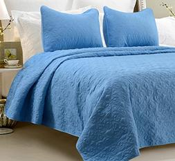 Oversized - 3 Piece 100% Cotton Quilted Coverlet Set - Blue