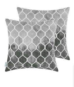 Pack of 2 Cozy Throw Pillow Cases  18x18 new grey Trellis Ch