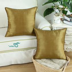 Pack of 2 Gold Throw Pillow Covers Case Light Weight Dyed St