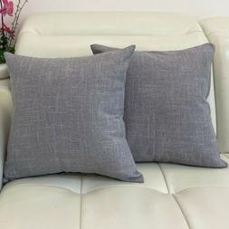 Pack of 2 Textured Linen Throw Pillow Cases Cushion Covers 2