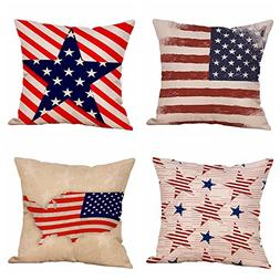 Set of 4 Patriotic American Flag July 4th Inspired Throw Pil