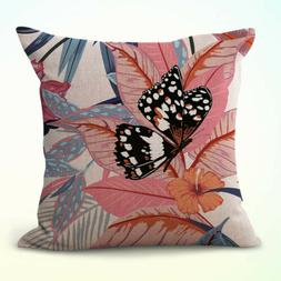 pillow case and throw hibiscus flower foilege butterfly cush