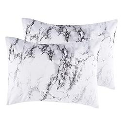 Wake In Cloud - Pack of 2 Pillow Cases, Black White and Gray
