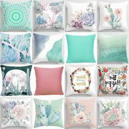 Throw PILLOW COVER Cactus Floral Decorative Pink White Green