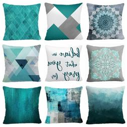 pillow cover teal blue 2 sided home