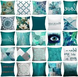 PILLOW COVER Teal Blue Decorative Home Decor Abstract Soft C