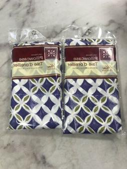 Home Collection Pillowcases Set 2 White Blue Green Floral St
