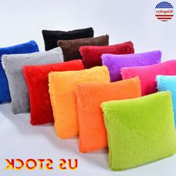 Pillowcases Soft Plush Square Throw Pillow Cases Solid Color