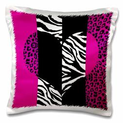 3dRose Pink Black and White Animal Print - Leopard and Zebra