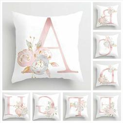 Pink Cushion Cover Up Letter Print Pillow Case Throw Pillowc