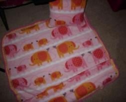 Pink Elephants characters blanket and pillow case for baby-t