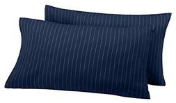 Pinzon 160 Gram Pinstripe Flannel Pillowcases - King, Navy P