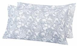 Pinzon 170 Gram Flannel Pillowcases - King, Navy Paisley New