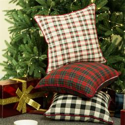 Glitzhome Plaid Christmas Pillow Cases Linen Square Throw Cu