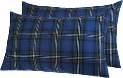 Pinzon 160 Gram Plaid Flannel Pillowcases - King, Blackwatch