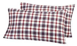 Pinzon 160 Gram Plaid Flannel Pillowcases - Standard, Red/Gr