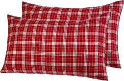 Pinzon 160 Gram Plaid Flannel Pillowcases - King, Bordeaux P