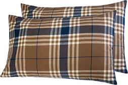 Pinzon 160 Gram Plaid Flannel Pillowcases – King, Brown Pl
