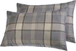 Pinzon 160 Gram Plaid Flannel Pillowcases – King, Grey Pla