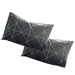 VClife Plaid Geometric Pattern Pillow Cases, Set of Two, Gre