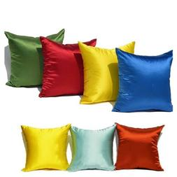 Plain Dyed Silk Square Pillow Cases Cushion Cover Bed Sofa P