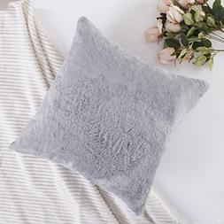 HOME BRILLIANT Plush Fluffy Lambswool Faux Fur/Suede Cushion
