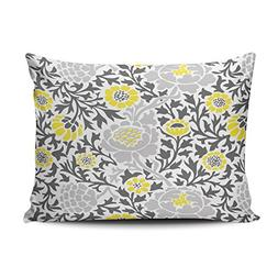 SALLEING Plush Pretty Retro Yellow and Gray Floral One Side