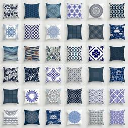Polyester Blue and white porcelain pattern Sofa Decor Pillow