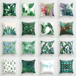 Polyester pillow case cover green leaves throw sofa car cush