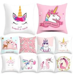 Polyester Unicorn Pillow Case Bed Sofa Pink Printed Cushion