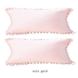 Pom Poms Fringe Cotton Pillow Cases Meaning4 Pink King Size