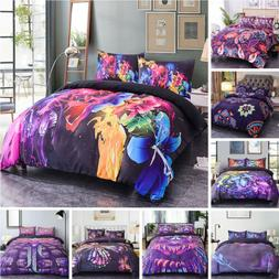 Purple  Floral Duvet Cover With Pillowcase Sets Bedding Sing