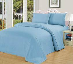 QUEEN Size LIGHT BLUE 2100 Egyptian Quality flat fitted SHEE