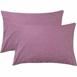 NTBAY Queen Size Pillowcases Set of 2, 100% Stone Washed Cot
