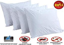 Pillow Protectors Queen 4 Pack 100% Waterproof Anti Allergy