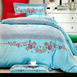 Quilt Cover Set of 4 Cotton Embroidered Quilt Cover, Sheet,
