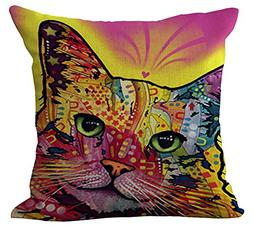 ChezMax Rainbow Cat Cushion Cover Cotton Linen Throw Pillow